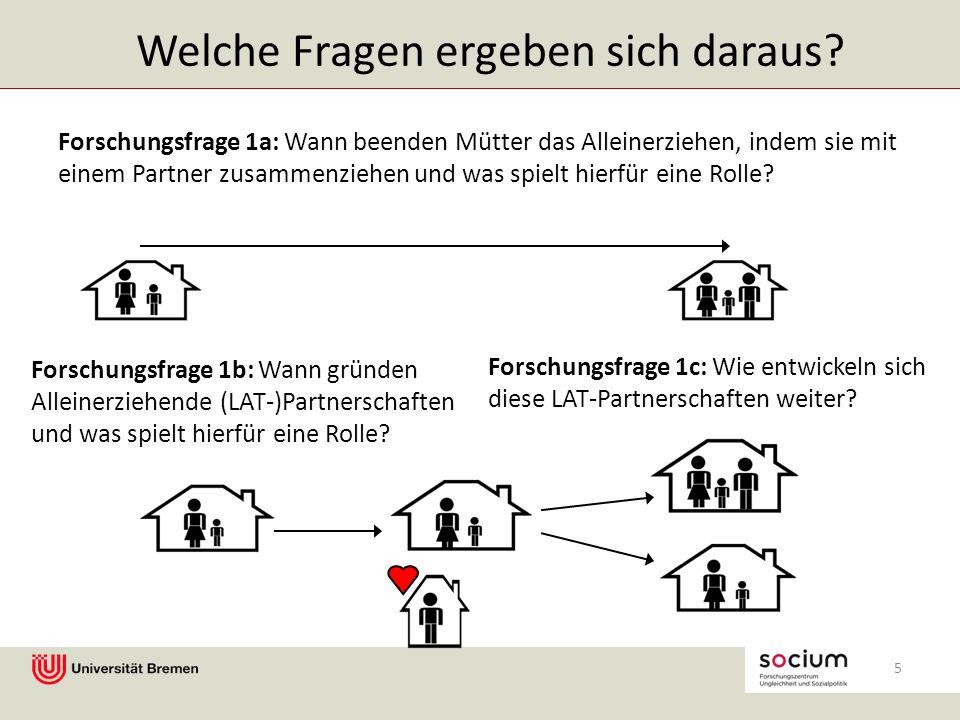 Forschungsfrage 1a: Wann beenden Mütter das Alleinerziehen, indem sie mit einem Partner zusammenziehen und was spielt hierfür eine Rolle.