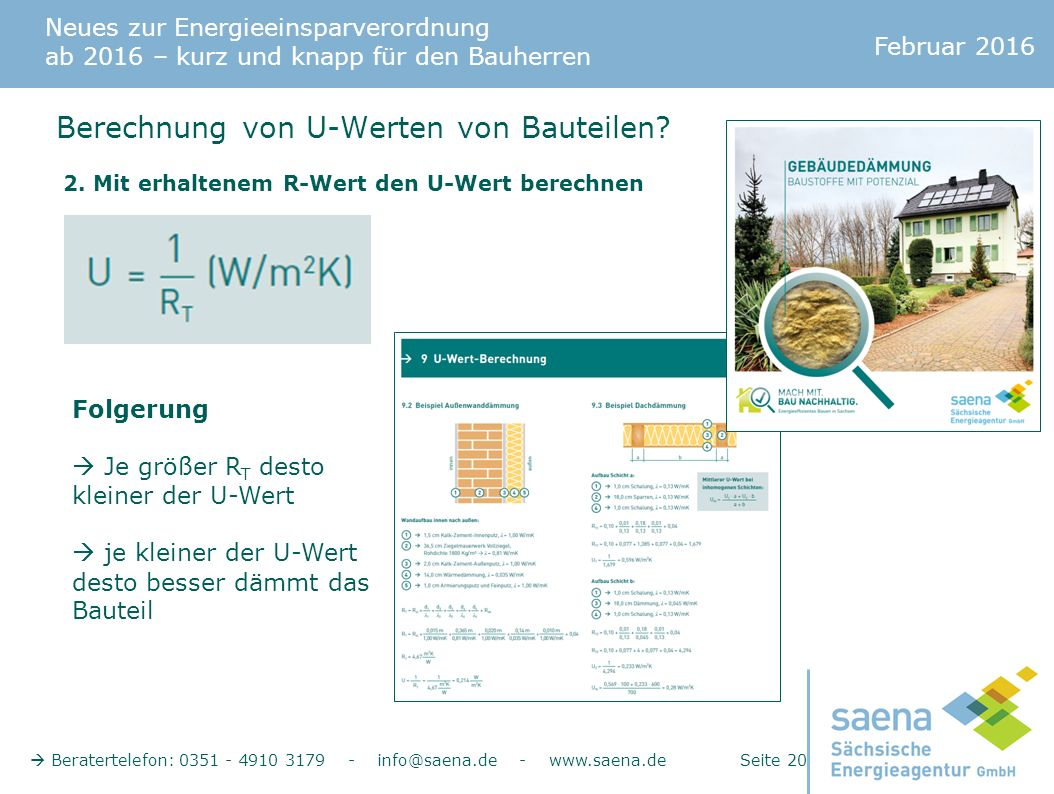 Neues zur Energieeinsparverordnung ab 2016 – kurz und knapp für den Bauherren Februar 2016  Beratertelefon: 0351 - 4910 3179 - info@saena.de - www.saena.de Seite 20 Berechnung von U-Werten von Bauteilen.