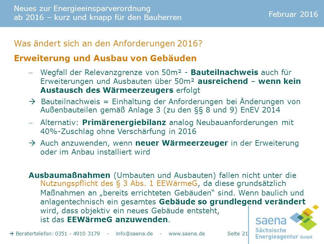 Neues zur Energieeinsparverordnung ab 2016 – kurz und knapp für den Bauherren Februar 2016  Beratertelefon: 0351 - 4910 3179 - info@saena.de - www.saena.de Seite 21 Was ändert sich an den Anforderungen 2016.