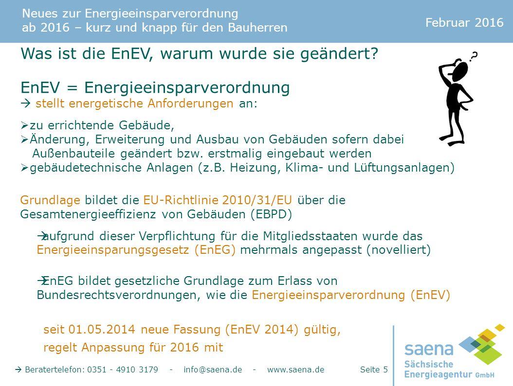 Neues zur Energieeinsparverordnung ab 2016 – kurz und knapp für den Bauherren Februar 2016  Beratertelefon: 0351 - 4910 3179 - info@saena.de - www.saena.de Seite 5 Was ist die EnEV, warum wurde sie geändert.