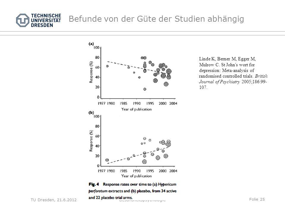 Folie 25 TU Dresden, 21.6.2012Gesundheitspsychologie Befunde von der Güte der Studien abhängig Linde K, Berner M, Egger M, Mulrow C.