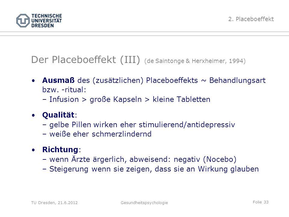 Folie 33 TU Dresden, 21.6.2012Gesundheitspsychologie Der Placeboeffekt (III) (de Saintonge & Herxheimer, 1994) Ausmaß des (zusätzlichen) Placeboeffekts ~ Behandlungsart bzw.