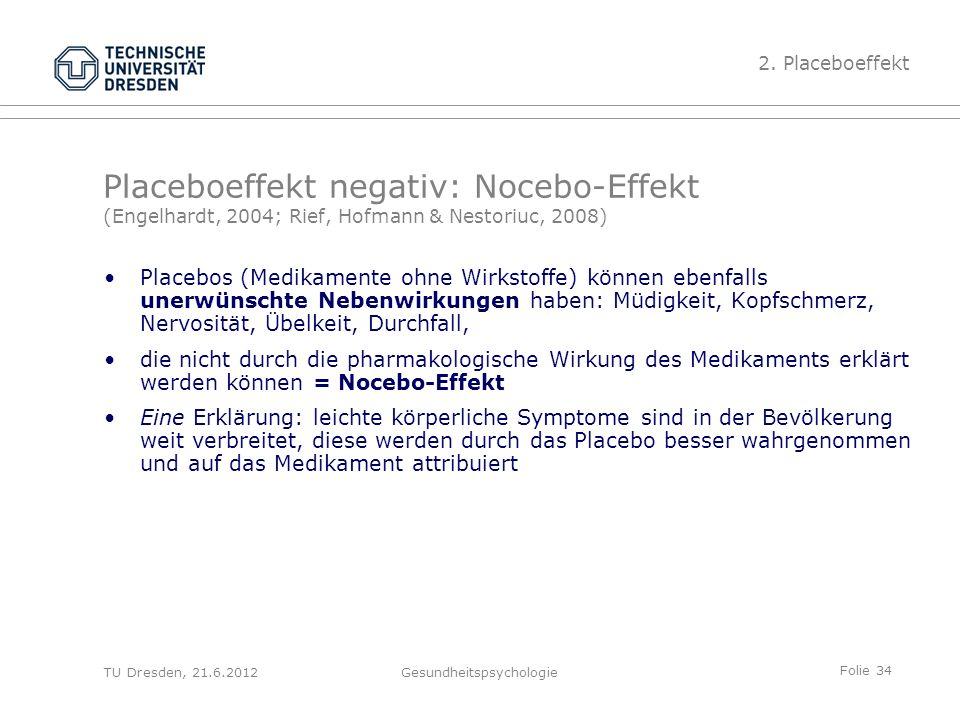 Folie 34 TU Dresden, 21.6.2012Gesundheitspsychologie Placeboeffekt negativ: Nocebo-Effekt (Engelhardt, 2004; Rief, Hofmann & Nestoriuc, 2008) 2.