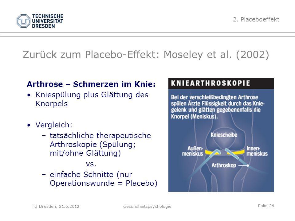 Folie 36 TU Dresden, 21.6.2012Gesundheitspsychologie Zurück zum Placebo-Effekt: Moseley et al.