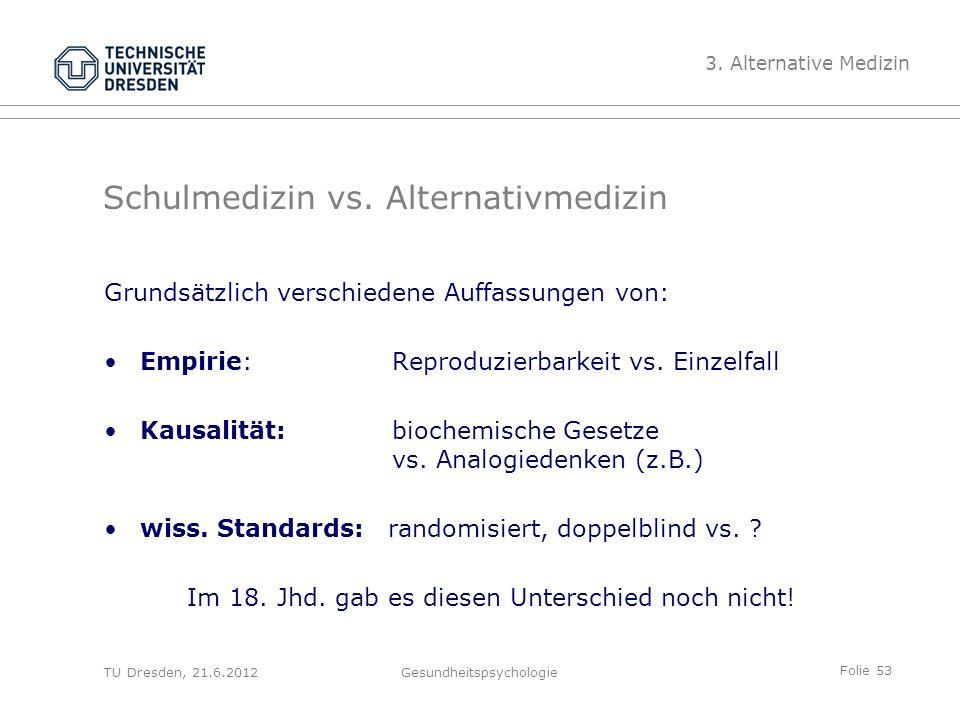 Folie 53 TU Dresden, 21.6.2012Gesundheitspsychologie Schulmedizin vs.