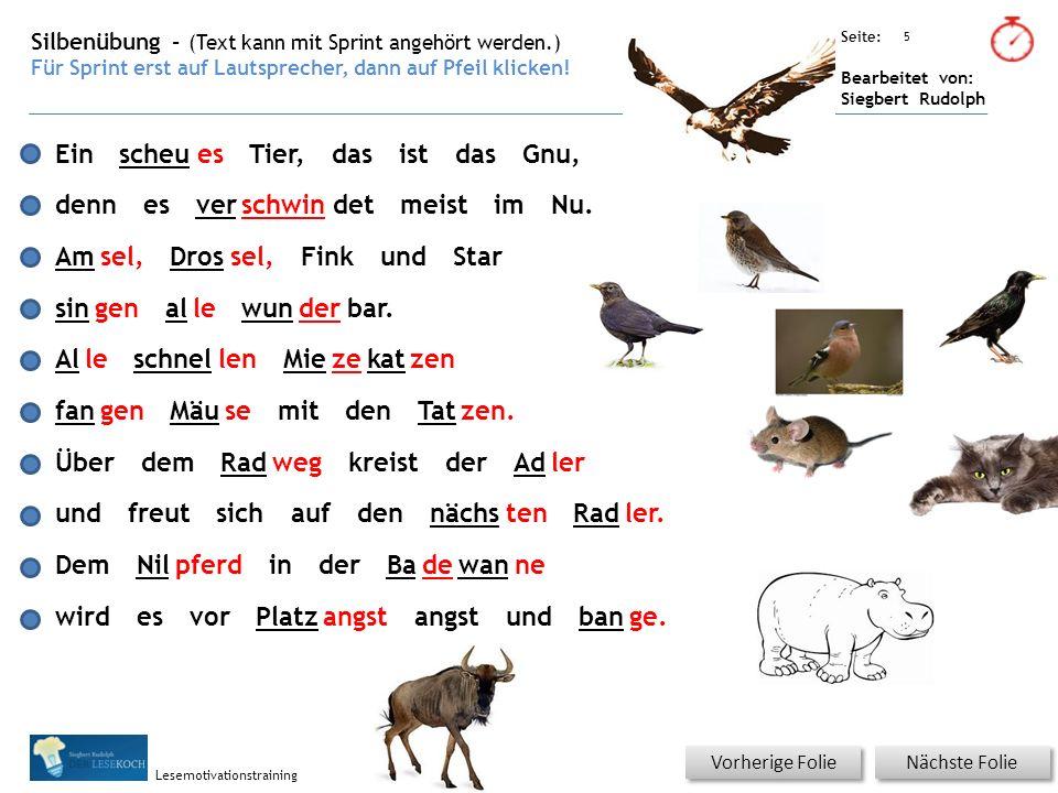 Übungsart: Seite: Bearbeitet von: Siegbert Rudolph Lesemotivationstraining Artikel - normal Ein scheues Tier, das ist das Gnu, denn es verschwindet meist im Nu.