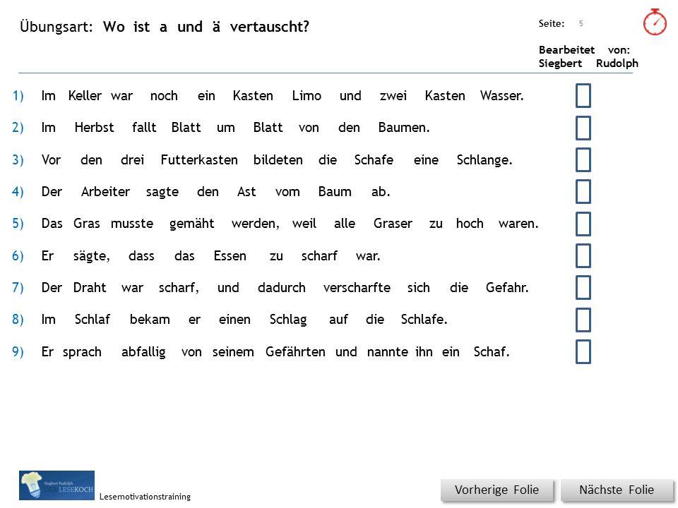 Übungsart: Seite: Bearbeitet von: Siegbert Rudolph Lesemotivationstraining Wo ist a und ä vertauscht? Titel: Quelle: Nächste Folie Vorherige Folie 5 1