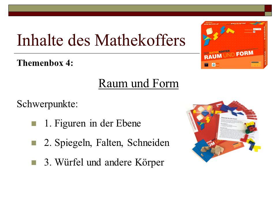 Inhalte des Mathekoffers Themenbox 4: Raum und Form Schwerpunkte: 1.