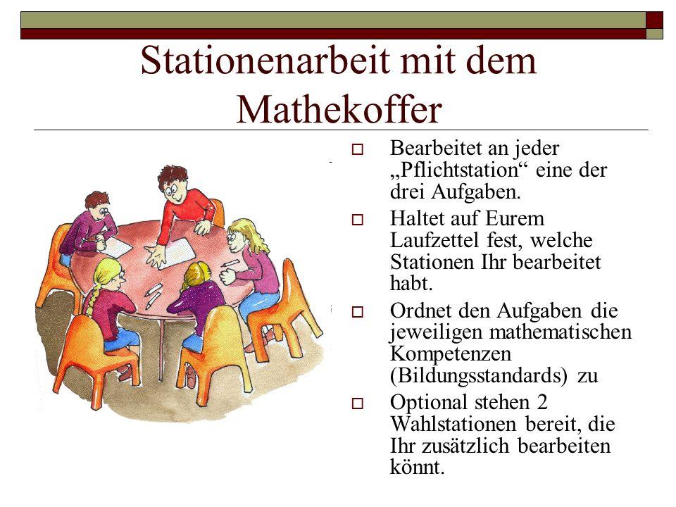 """Stationenarbeit mit dem Mathekoffer  Bearbeitet an jeder """"Pflichtstation eine der drei Aufgaben."""