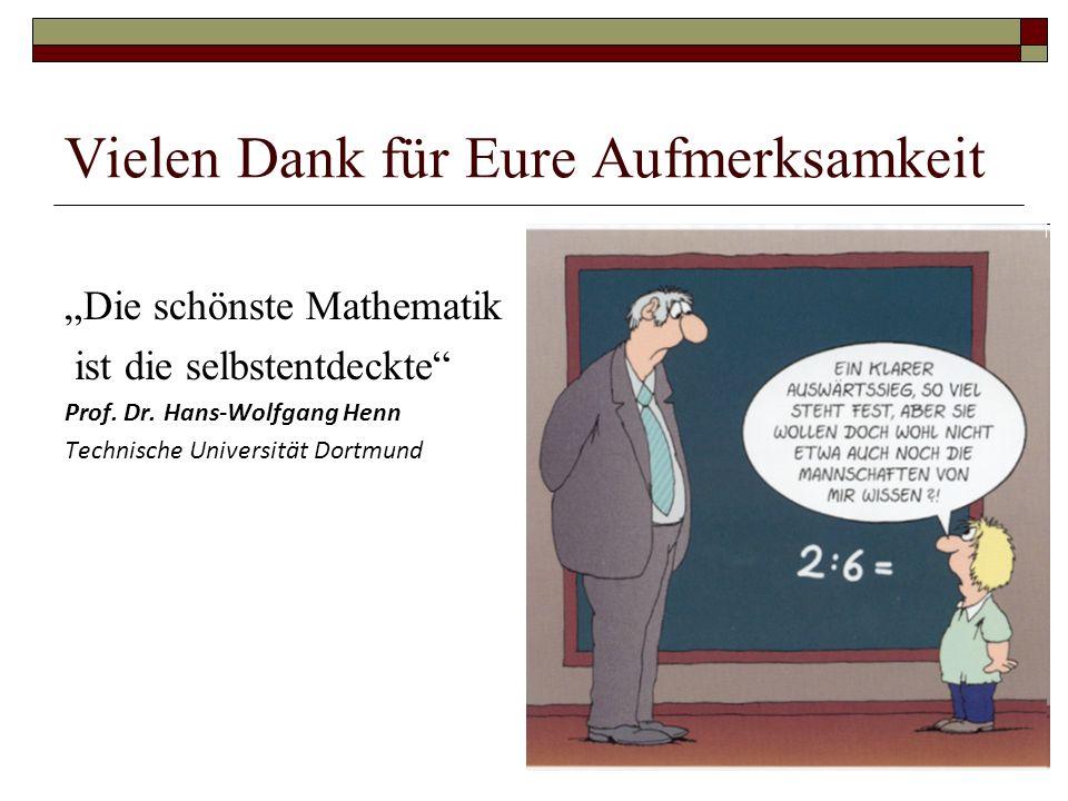 """Vielen Dank für Eure Aufmerksamkeit """"Die schönste Mathematik ist die selbstentdeckte Prof."""