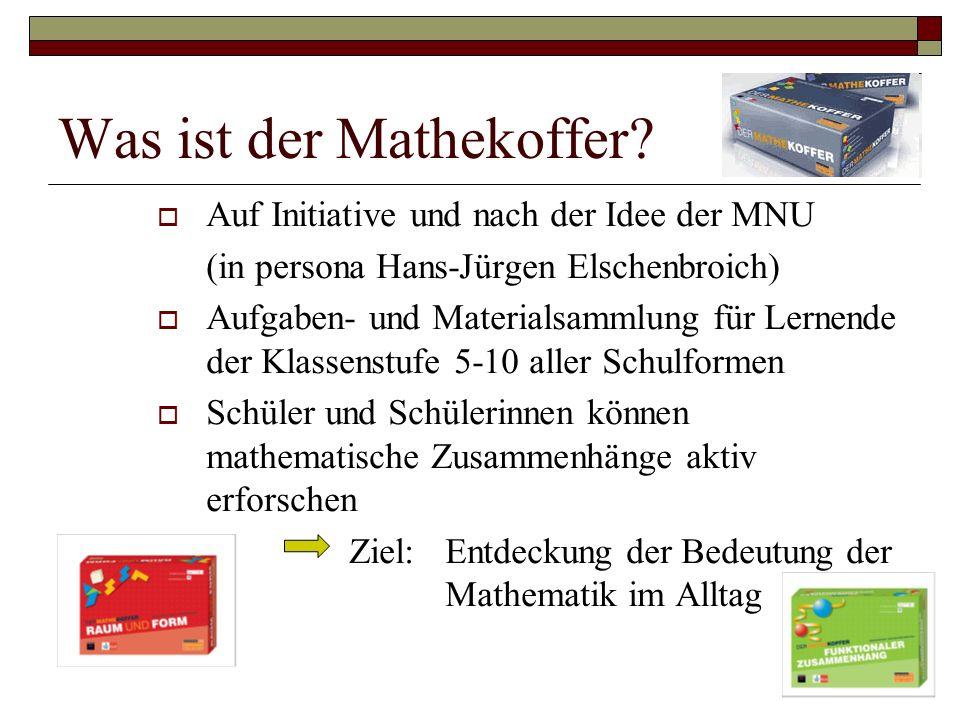 Auf Initiative und nach der Idee der MNU (in persona Hans-Jürgen Elschenbroich)  Aufgaben- und Materialsammlung für Lernende der Klassenstufe 5-10 aller Schulformen  Schüler und Schülerinnen können mathematische Zusammenhänge aktiv erforschen Ziel: Entdeckung der Bedeutung der Mathematik im Alltag