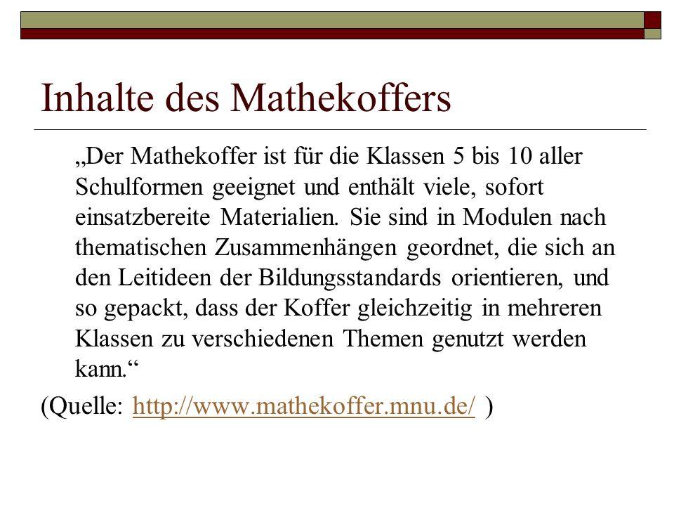 """""""Der Mathekoffer ist für die Klassen 5 bis 10 aller Schulformen geeignet und enthält viele, sofort einsatzbereite Materialien."""