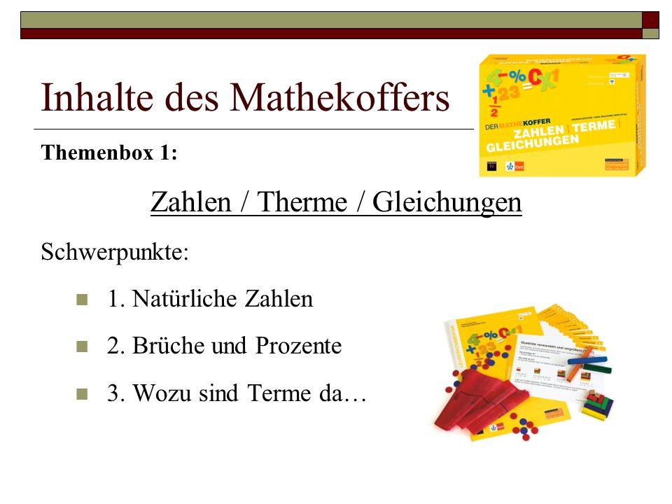 Inhalte des Mathekoffers Themenbox 1: Zahlen / Therme / Gleichungen Schwerpunkte: 1.