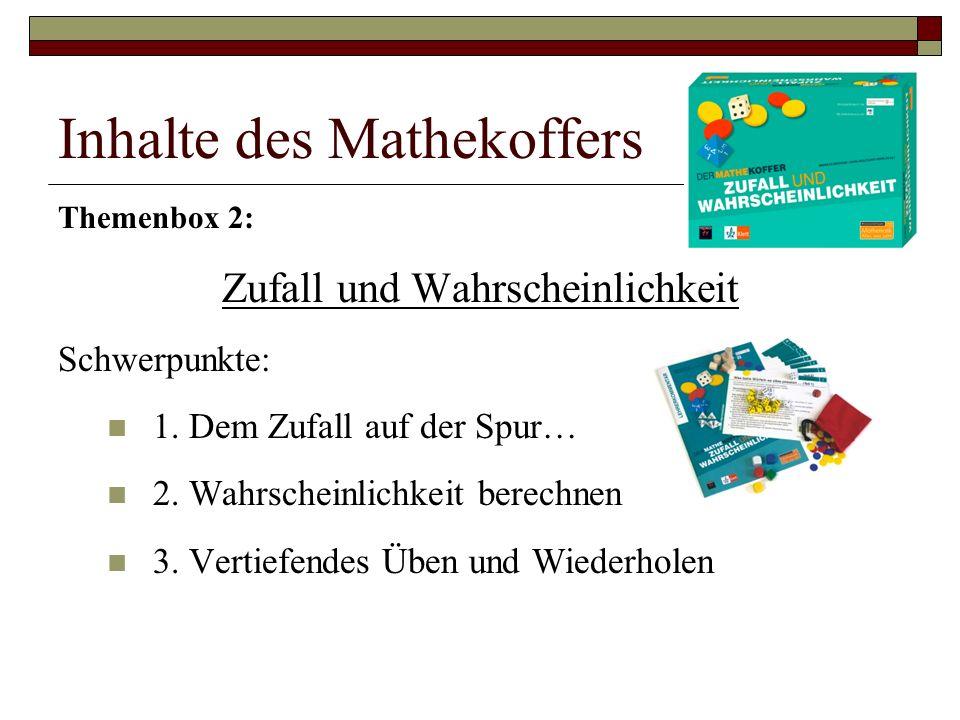 Inhalte des Mathekoffers Themenbox 2: Zufall und Wahrscheinlichkeit Schwerpunkte: 1.