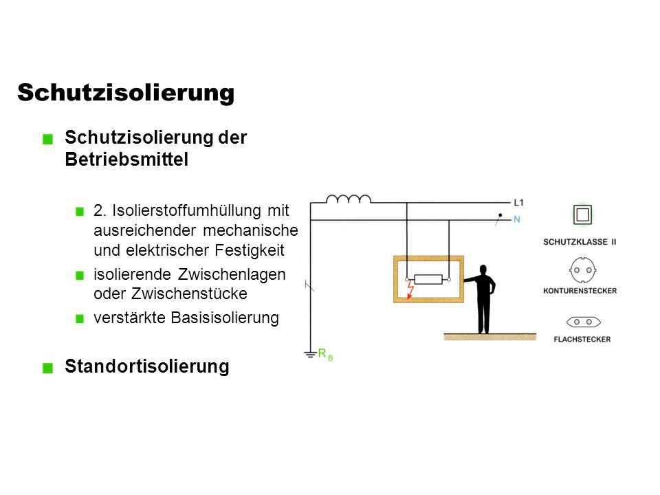 Schutzisolierung Schutzisolierung der Betriebsmittel 2. Isolierstoffumhüllung mit ausreichender mechanischer und elektrischer Festigkeit isolierende Z