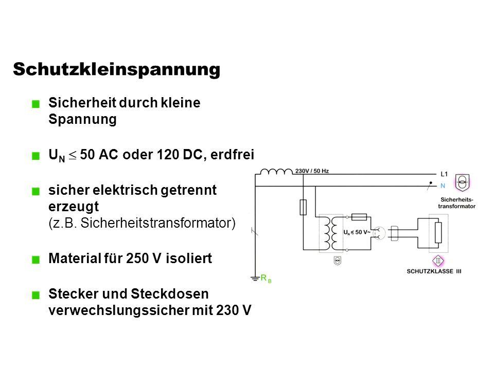 Schutzkleinspannung Sicherheit durch kleine Spannung U N  50 AC oder 120 DC, erdfrei sicher elektrisch getrennt erzeugt (z.B. Sicherheitstransformato