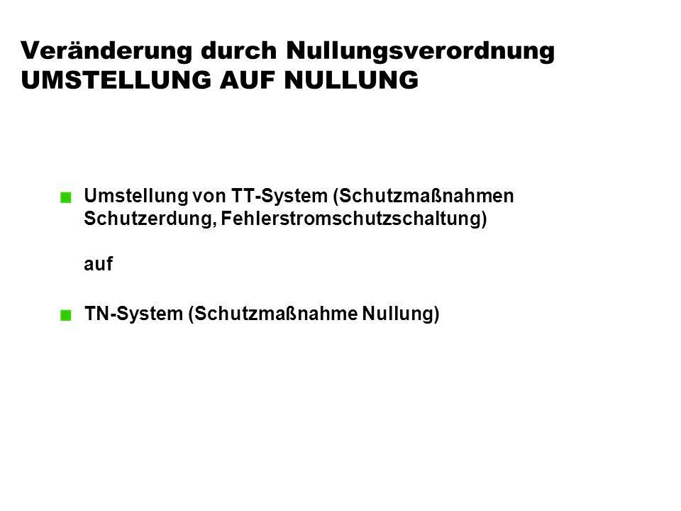 Veränderung durch Nullungsverordnung UMSTELLUNG AUF NULLUNG Umstellung von TT-System (Schutzmaßnahmen Schutzerdung, Fehlerstromschutzschaltung) auf TN