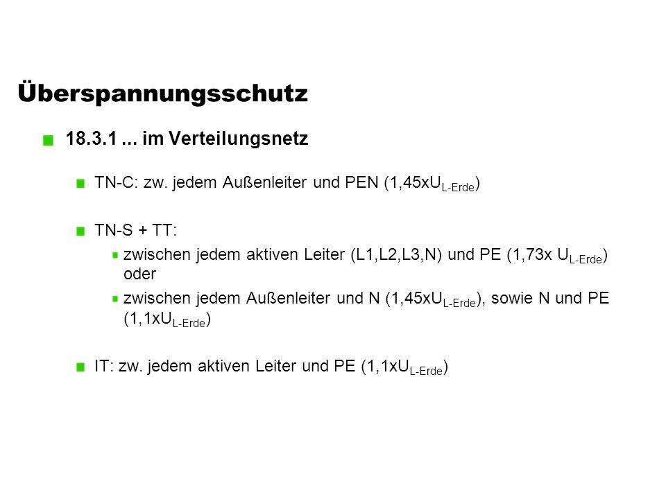 Überspannungsschutz 18.3.1... im Verteilungsnetz TN-C: zw. jedem Außenleiter und PEN (1,45xU L-Erde ) TN-S + TT: zwischen jedem aktiven Leiter (L1,L2,