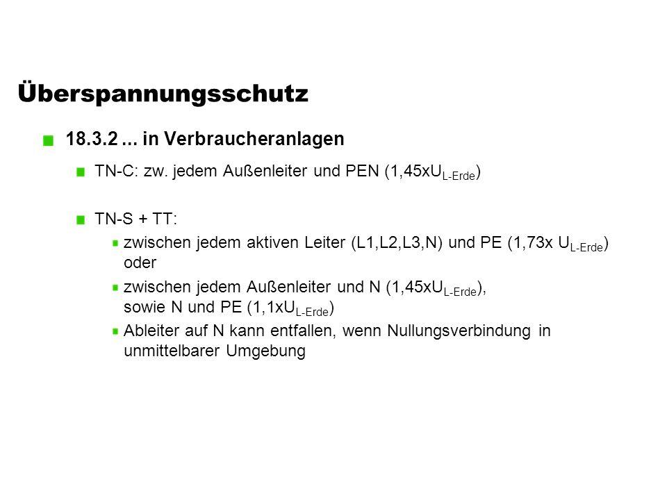 Überspannungsschutz 18.3.2... in Verbraucheranlagen TN-C: zw. jedem Außenleiter und PEN (1,45xU L-Erde ) TN-S + TT: zwischen jedem aktiven Leiter (L1,