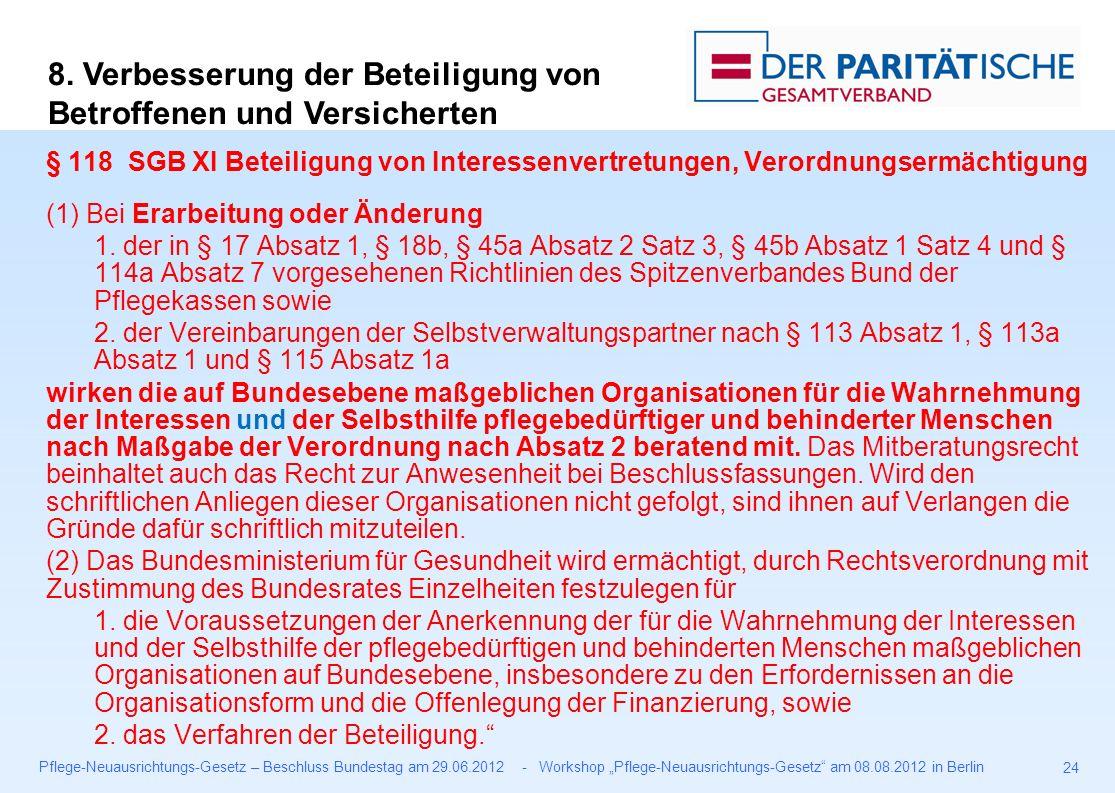 """Pflege-Neuausrichtungs-Gesetz – Beschluss Bundestag am 29.06.2012 - Workshop """"Pflege-Neuausrichtungs-Gesetz am 08.08.2012 in Berlin 24 § 118 SGB XI Beteiligung von Interessenvertretungen, Verordnungsermächtigung (1) Bei Erarbeitung oder Änderung 1."""
