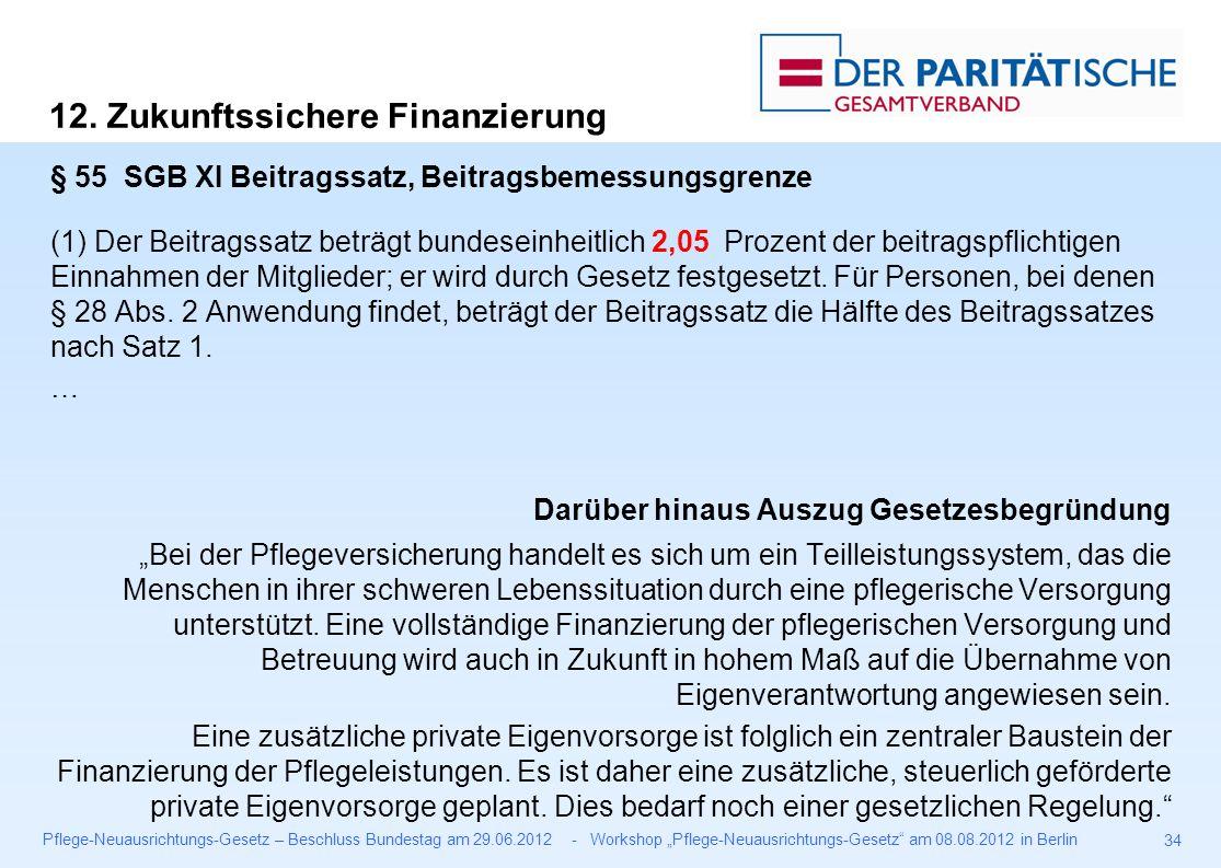 """Pflege-Neuausrichtungs-Gesetz – Beschluss Bundestag am 29.06.2012 - Workshop """"Pflege-Neuausrichtungs-Gesetz am 08.08.2012 in Berlin 34 § 55 SGB XI Beitragssatz, Beitragsbemessungsgrenze (1) Der Beitragssatz beträgt bundeseinheitlich 2,05 Prozent der beitragspflichtigen Einnahmen der Mitglieder; er wird durch Gesetz festgesetzt."""
