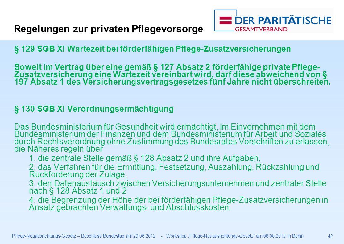 """Pflege-Neuausrichtungs-Gesetz – Beschluss Bundestag am 29.06.2012 - Workshop """"Pflege-Neuausrichtungs-Gesetz am 08.08.2012 in Berlin 42 § 129 SGB XI Wartezeit bei förderfähigen Pflege-Zusatzversicherungen Soweit im Vertrag über eine gemäß § 127 Absatz 2 förderfähige private Pflege- Zusatzversicherung eine Wartezeit vereinbart wird, darf diese abweichend von § 197 Absatz 1 des Versicherungsvertragsgesetzes fünf Jahre nicht überschreiten."""