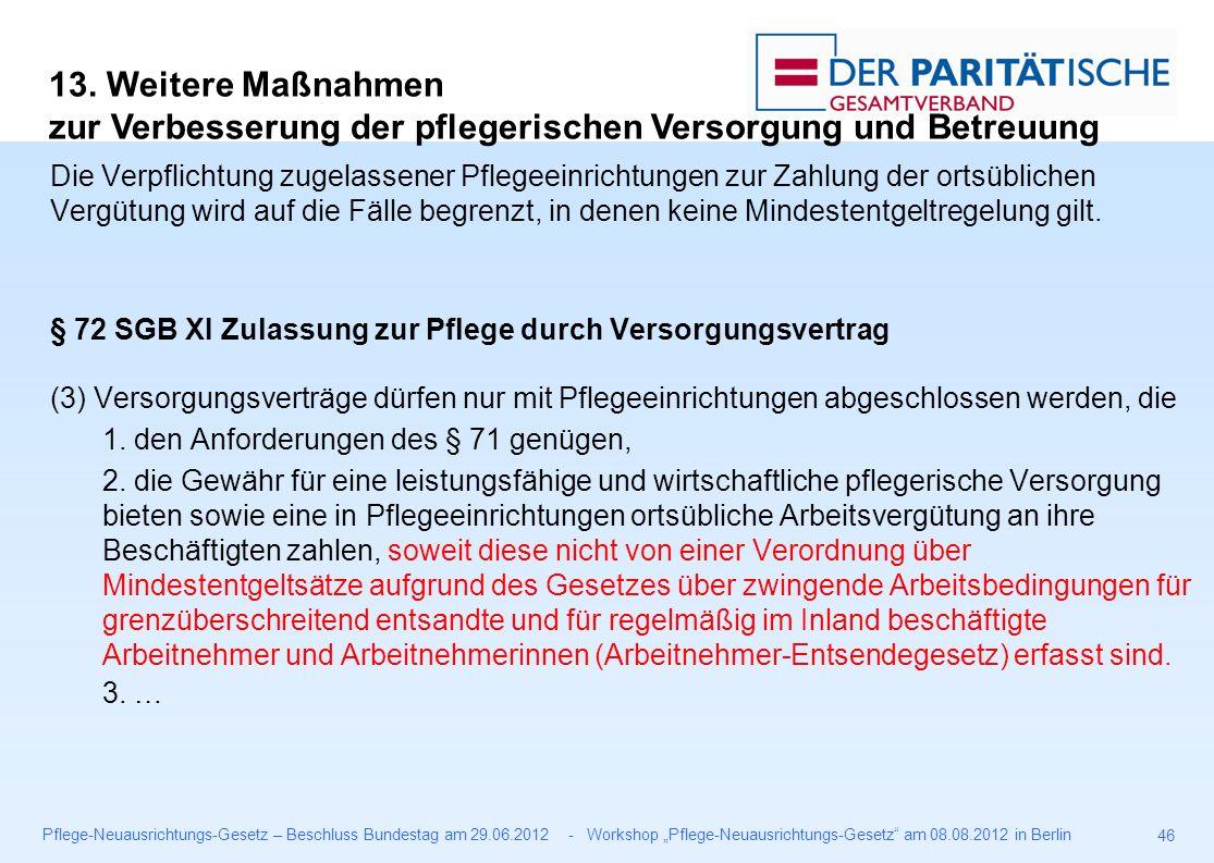 """Pflege-Neuausrichtungs-Gesetz – Beschluss Bundestag am 29.06.2012 - Workshop """"Pflege-Neuausrichtungs-Gesetz am 08.08.2012 in Berlin 46 Die Verpflichtung zugelassener Pflegeeinrichtungen zur Zahlung der ortsüblichen Vergütung wird auf die Fälle begrenzt, in denen keine Mindestentgeltregelung gilt."""