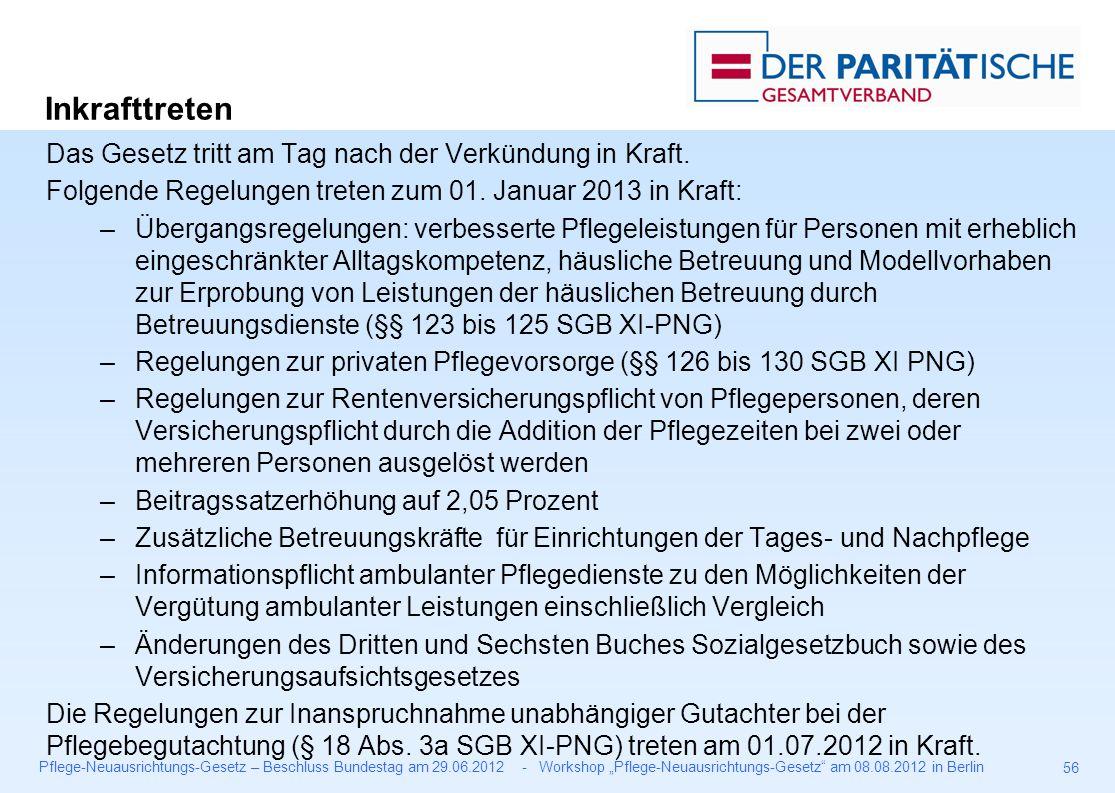 """Pflege-Neuausrichtungs-Gesetz – Beschluss Bundestag am 29.06.2012 - Workshop """"Pflege-Neuausrichtungs-Gesetz am 08.08.2012 in Berlin 56 Das Gesetz tritt am Tag nach der Verkündung in Kraft."""