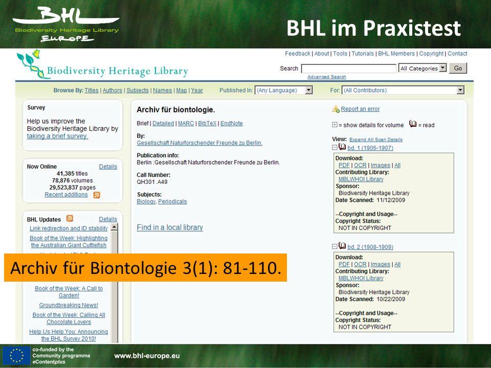 BHL im Praxistest Archiv für Biontologie 3(1): 81-110.