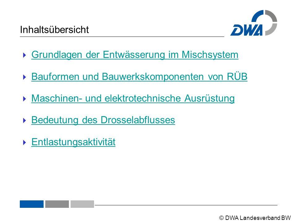 © DWA Landesverband BW Inhaltsübersicht  Grundlagen der Entwässerung im Mischsystem Grundlagen der Entwässerung im Mischsystem  Bauformen und Bauwer