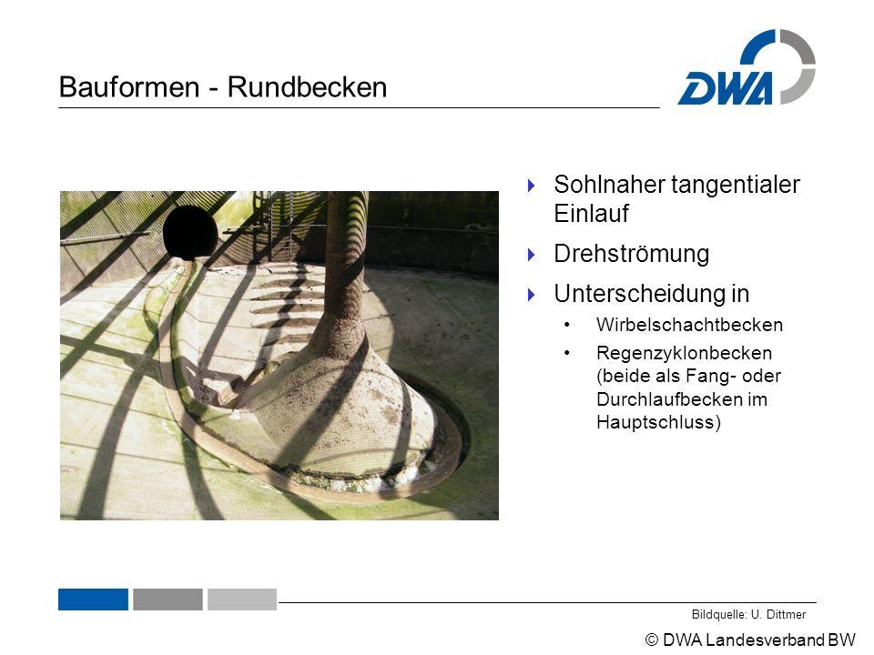© DWA Landesverband BW Bauformen - Rundbecken  Sohlnaher tangentialer Einlauf  Drehströmung  Unterscheidung in Wirbelschachtbecken Regenzyklonbecken (beide als Fang- oder Durchlaufbecken im Hauptschluss) Bildquelle: U.