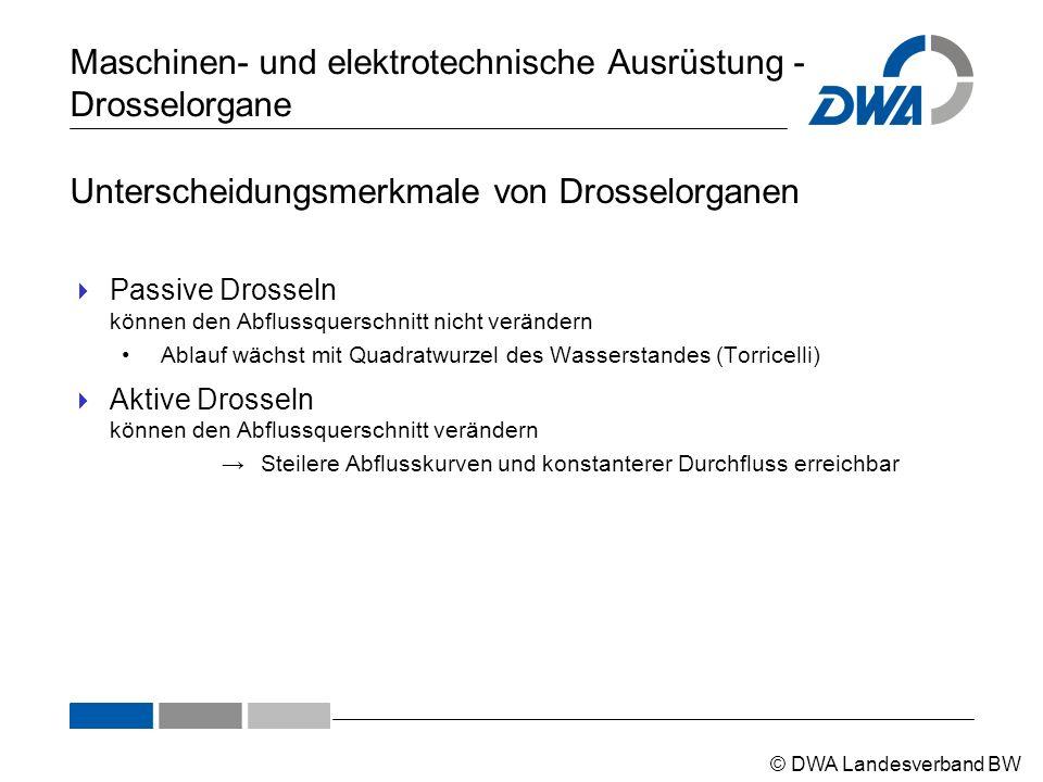 © DWA Landesverband BW Maschinen- und elektrotechnische Ausrüstung - Drosselorgane Unterscheidungsmerkmale von Drosselorganen  Passive Drosseln könne