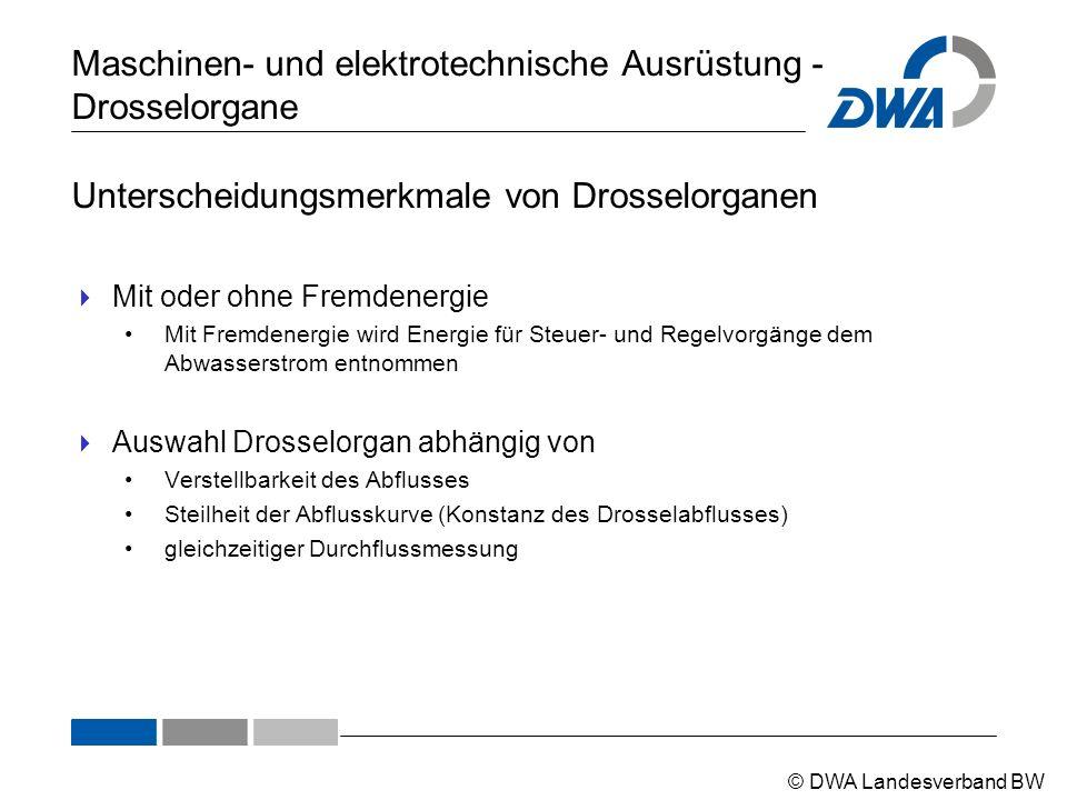 © DWA Landesverband BW Maschinen- und elektrotechnische Ausrüstung - Drosselorgane Unterscheidungsmerkmale von Drosselorganen  Mit oder ohne Fremdene