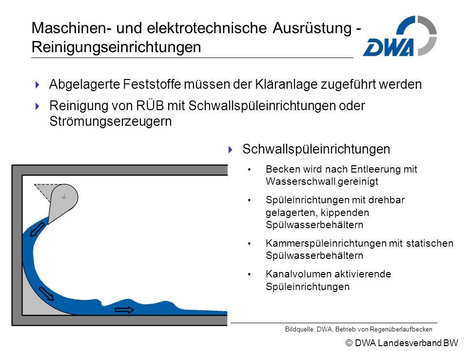 © DWA Landesverband BW Maschinen- und elektrotechnische Ausrüstung - Reinigungseinrichtungen  Abgelagerte Feststoffe müssen der Kläranlage zugeführt