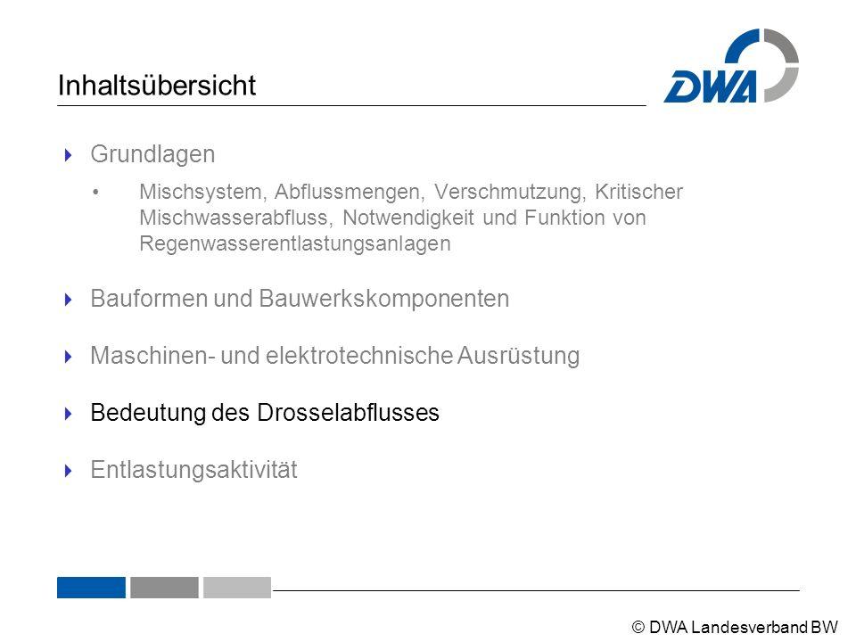 © DWA Landesverband BW Inhaltsübersicht  Grundlagen Mischsystem, Abflussmengen, Verschmutzung, Kritischer Mischwasserabfluss, Notwendigkeit und Funkt