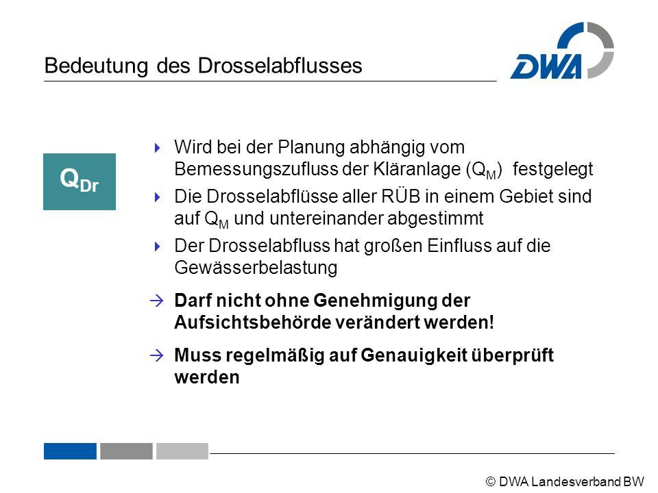 © DWA Landesverband BW Bedeutung des Drosselabflusses Q Dr  Wird bei der Planung abhängig vom Bemessungszufluss der Kläranlage (Q M ) festgelegt  Di