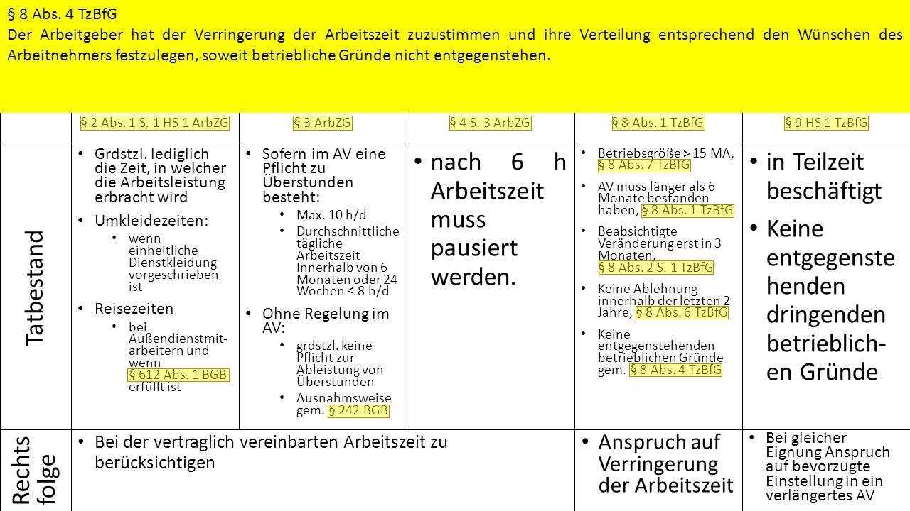 § 2 Abs. 1 S. 1 HS 1 ArbZG Grdstzl.