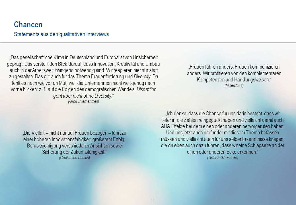 """Chancen 11 Statements aus den qualitativen Interviews """"Das gesellschaftliche Klima in Deutschland und Europa ist von Unsicherheit geprägt."""