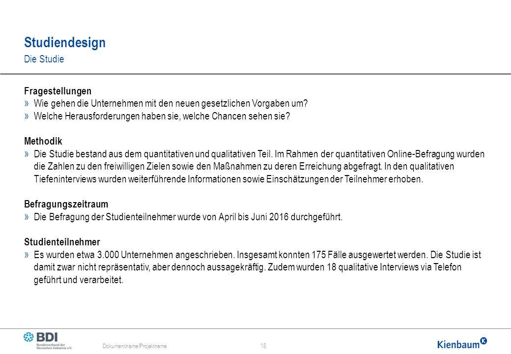 Studiendesign Dokumentname/Projektname 18 Die Studie Fragestellungen » Wie gehen die Unternehmen mit den neuen gesetzlichen Vorgaben um.