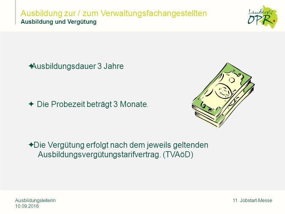 Landkreis Ostprignitz-Ruppi n Ausbildungsleiterin 10.09.2016 11. Jobstart-Messe Ausbildung zur / zum Verwaltungsfachangestellten Ausbildung und Vergüt