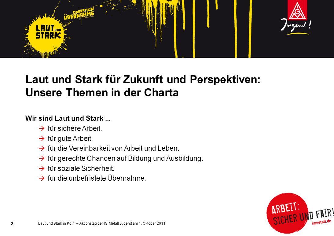 Laut und Stark in Köln! – Aktionstag der IG Metall Jugend am 1. Oktober 2011 3 Laut und Stark für Zukunft und Perspektiven: Unsere Themen in der Chart