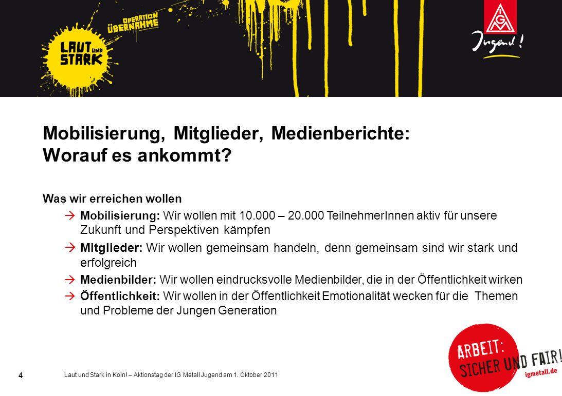 Laut und Stark in Köln! – Aktionstag der IG Metall Jugend am 1. Oktober 2011 4 Mobilisierung, Mitglieder, Medienberichte: Worauf es ankommt? Was wir e