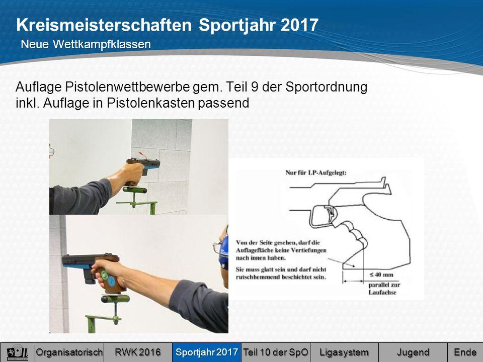 Kreismeisterschaften Sportjahr 2017 Auflage Pistolenwettbewerbe gem.