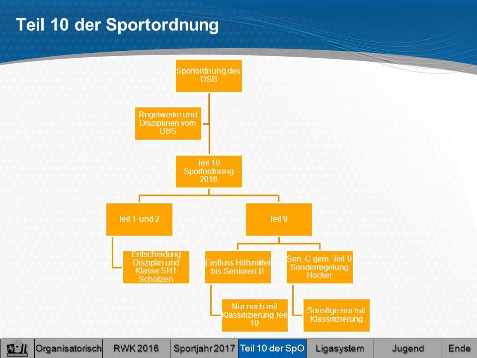 Teil 10 der Sportordnung Sportordnung des DSB Teil 10 Sportordnung 2016 Teil 1 und 2 Entscheidung Disziplin und Klasse SH1 Schützen Teil 9 Einfluss Hilfsmittel bis Senioren B Nur noch mit Klassifizierung Teil 10 Sen.