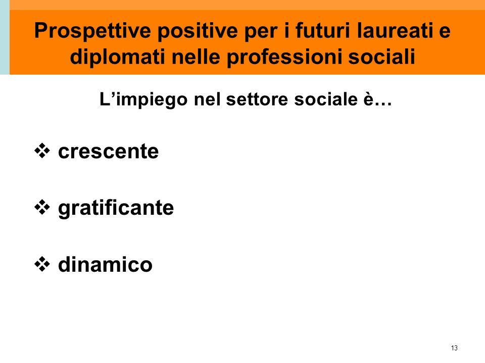 13 Prospettive positive per i futuri laureati e diplomati nelle professioni sociali L'impiego nel settore sociale è…  crescente  gratificante  dina