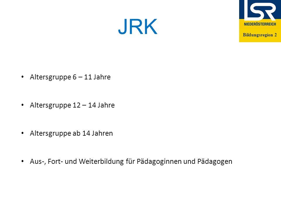 JRK Bildungsregion 2 Altersgruppe 6 – 11 Jahre Altersgruppe 12 – 14 Jahre Altersgruppe ab 14 Jahren Aus-, Fort- und Weiterbildung für Pädagoginnen und Pädagogen Bildungsregion 2