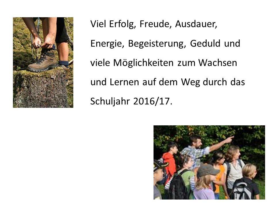 Viel Erfolg, Freude, Ausdauer, Energie, Begeisterung, Geduld und viele Möglichkeiten zum Wachsen und Lernen auf dem Weg durch das Schuljahr 2016/17.