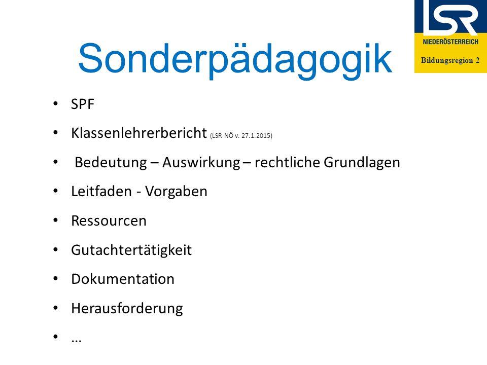 Sonderpädagogik Bildungsregion 2 SPF Klassenlehrerbericht (LSR NÖ v.
