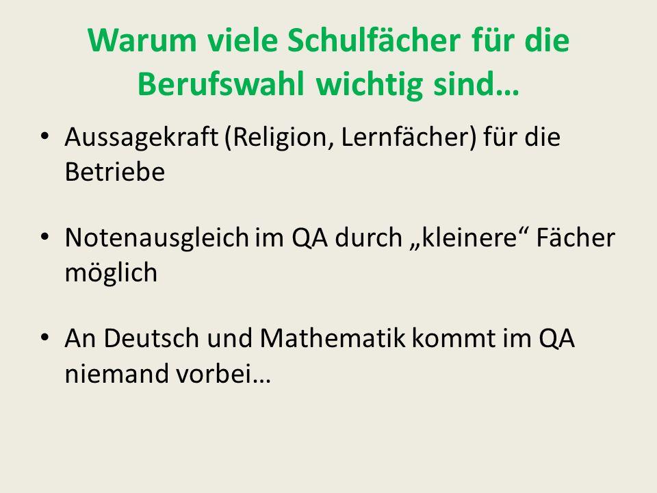 """Warum viele Schulfächer für die Berufswahl wichtig sind… Aussagekraft (Religion, Lernfächer) für die Betriebe Notenausgleich im QA durch """"kleinere Fächer möglich An Deutsch und Mathematik kommt im QA niemand vorbei…"""