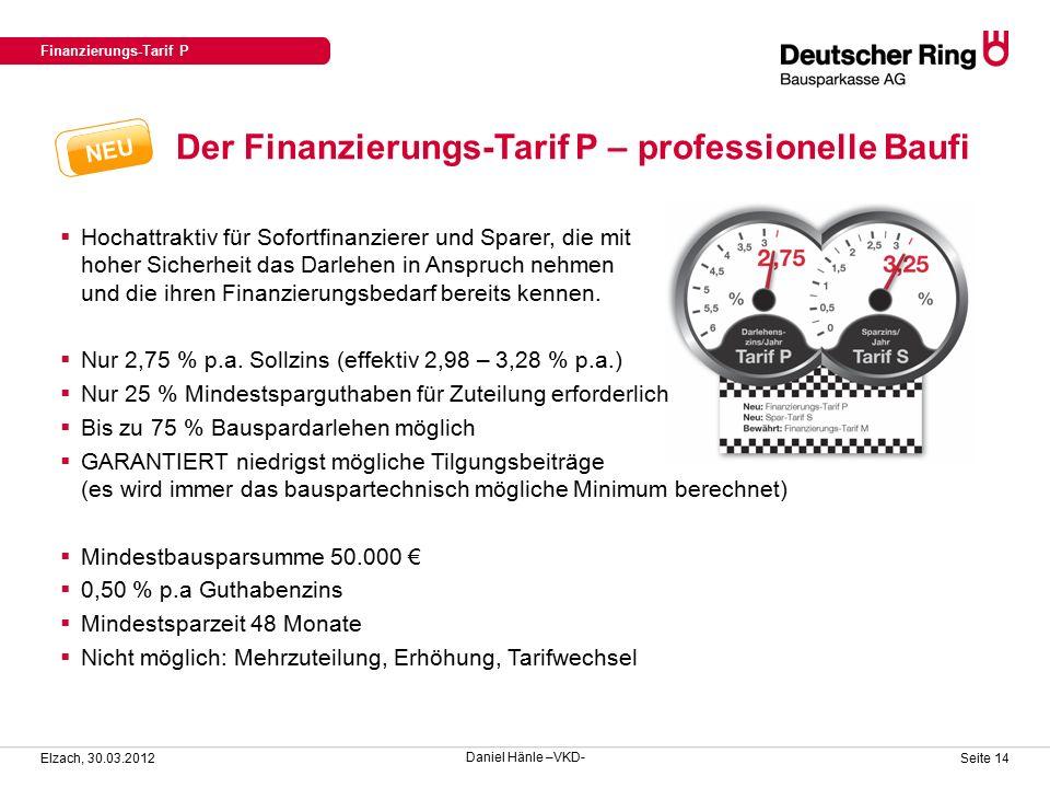 Der Finanzierungs-Tarif P – professionelle Baufi Finanzierungs-Tarif P Elzach, 30.03.2012 Seite 14  Hochattraktiv für Sofortfinanzierer und Sparer, die mit hoher Sicherheit das Darlehen in Anspruch nehmen und die ihren Finanzierungsbedarf bereits kennen.